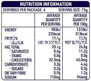 DON™ Pork Summer Kabana Sausage Nutrition Information