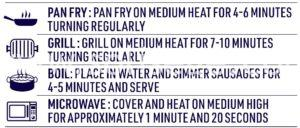 DON™ Pork Cheese Kranksy Sausage Cooking Instructions including pan fry, grill, boil, and microwave.
