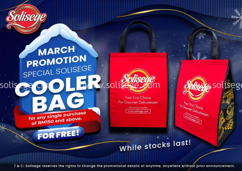 Solisege FREE Cooler Bag for March promotion when customers check out with RM150 (after discount).