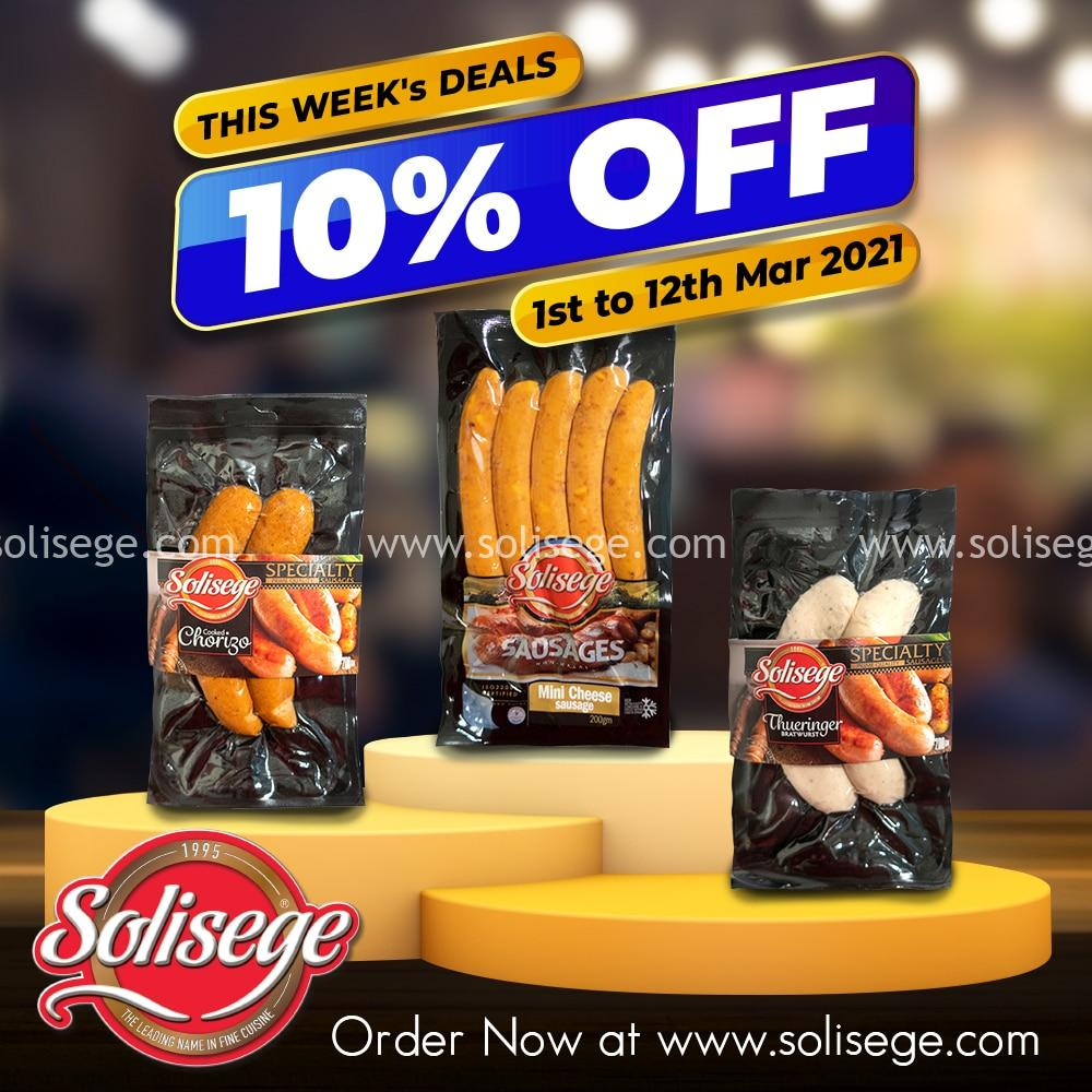 Solisege Online Bi-weekly 10% OFF sausages including cooked chorizo 200gm, mini cheese sausage 200gm, and thueringer bratwurst 200gm.