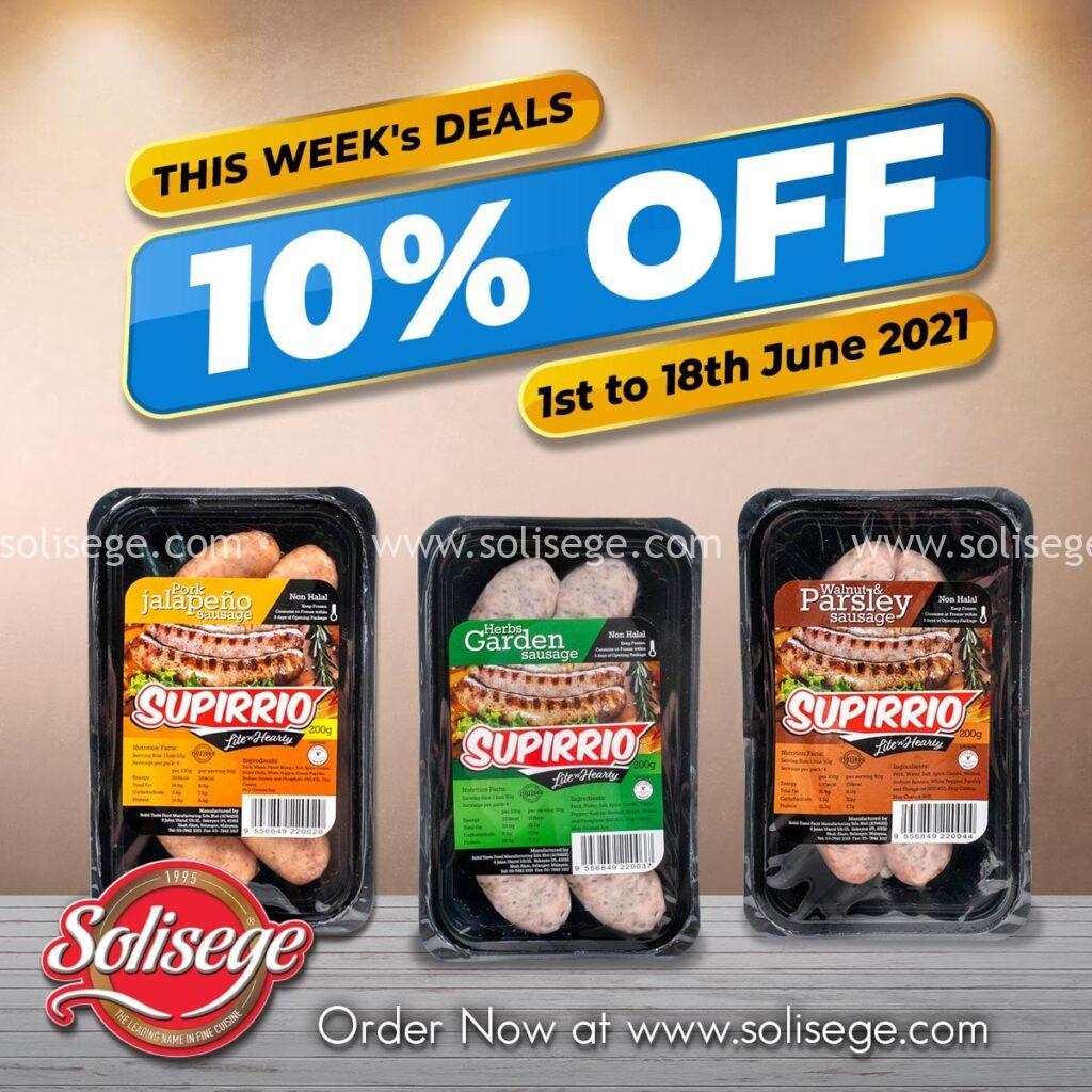 10% OFF For Fresh sausages range including pork jalepeno, herbs garden, and walnut & parsley sausage
